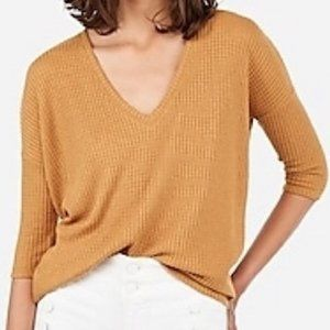 Express 3/4 Sleeve Knit VNeck Sweater Small Petite